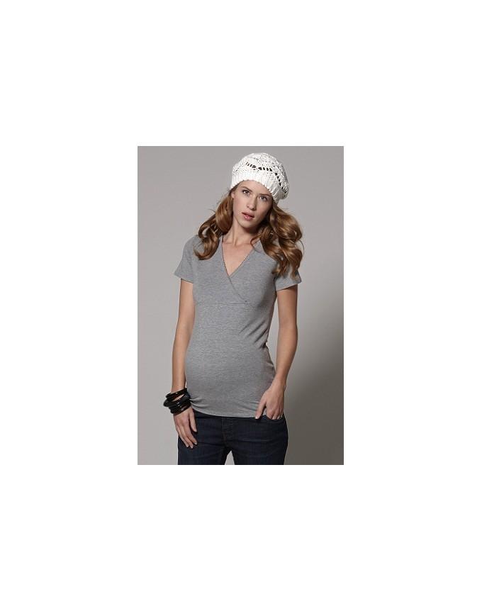 Esprit maternity Nursing T-Shirt mit modischem Wickeleffekt/ Bogenkäntchen