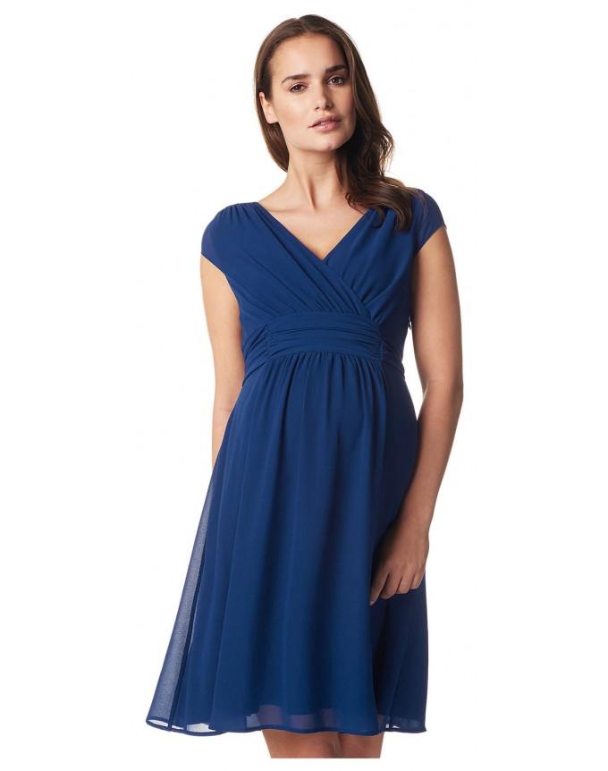 Damen Umstands- Kleid Gerafftes Taillenband Dress Farbe: Medium Blue