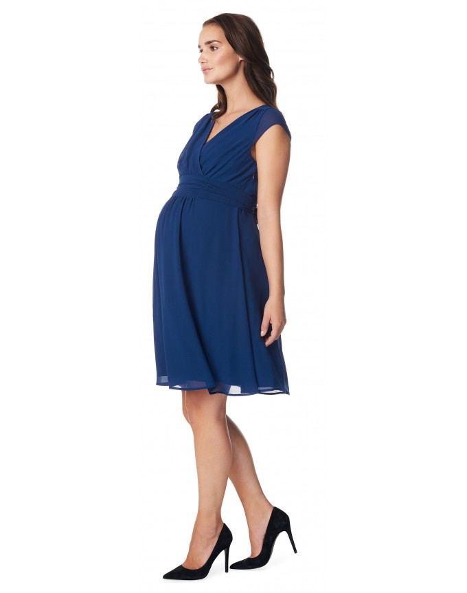 Damen Umstands- Kleid Gerafftes Taillenband Dress Farbe: Medium Blue