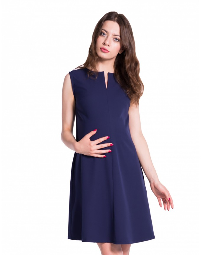 Nitsi Damen Umstands- Kleid Gerafftes Taillenband Dress