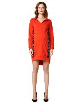 Umstandskleid Kleid Hoodie Orange