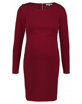 Noppies Kleid Zinnia rot in Rippstrick Dreiviertelärmel und Midi 90625 Umstands-Kleid