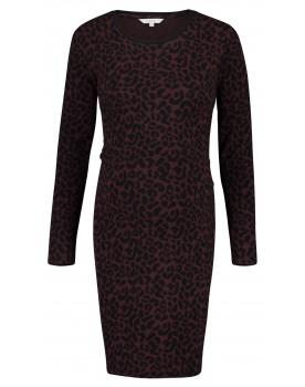 Noppies Kleid Sierra Midi mit Farbkontrast und Leopardenmuster Umstands-Kleid 90626