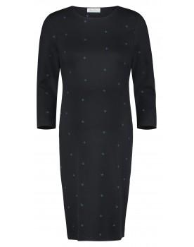 Queen Mum Umstands-Kleid 7/8-Arm schwarz elastisch mit Schlitz und Print 91541