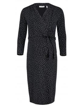 Queen Mum Umstands-Kleid Stretch Punkte schwarz zum Binden mit V-Ausschnitt 91543