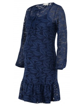 Queen Mum Umstands-Kleid Hochzeit verspielt Spitzenoptik langarm marine Stretchkleid 91549