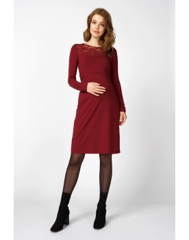 Queen Mum Still-Kleid bordeaux Jersey Binden Umstandskleid 91644