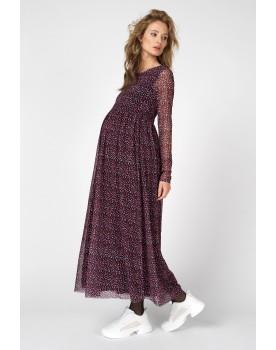 Supermom Kleid Mesh-Stoff Maxi-Kleid Umstands-Kleid Lang S1012