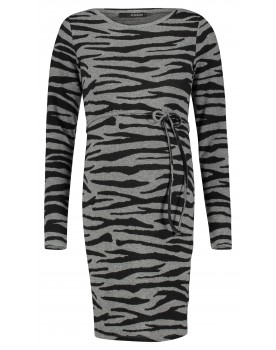 Supermom Kleid Zebra Bodycon-Kleid Umstands-Kleid Bindegürtel S1038