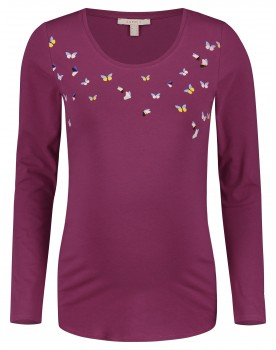 Esprit Still-Shirt Langarmshirt mit Print in pflaume Umstands-Shirt V1984711