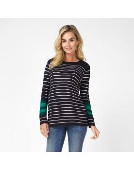 Feinstrick-Pullover Pullover Rebecca Umstandsmode Streifenmuster 90540