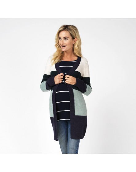 Damen Strickjacke Reva Schwangerschaft Jacke Color Blocking Design 90543