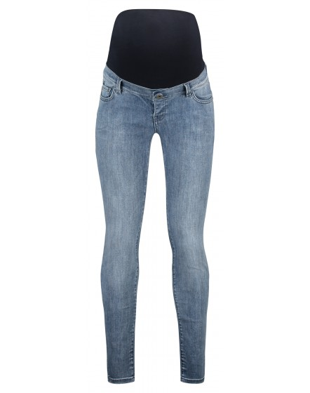 Supermom Skinny Umstandsjeans Damaged Blue Denim Jeans Umstandshose mit Bauchband S1022