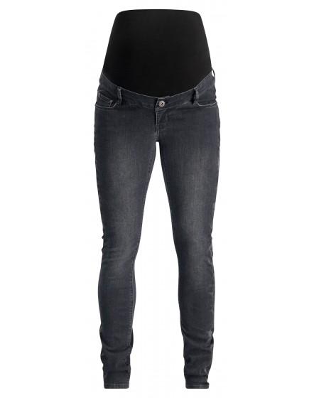 Supermom Skinny Umstandsjeans Washed Black Denim auffällige Seitennähte Muster S1046