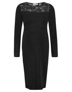 Queen Mum Still-Kleid aus feinem Jersey-Material mit Spitze am Ausschnitt 91744