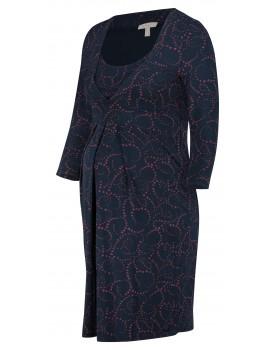 Esprit Still-Kleid aus weichem Materialmix mit plissierten Details und 3/4-Ärmel X1984260