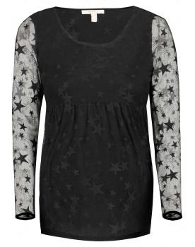 Esprit Langarmshirt schwarz mit transpartenten Ärmeln Y1984705