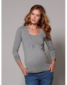 Esprit maternity Longsleeve Nursing Shirt mit modischem Wickeleffekt M84714